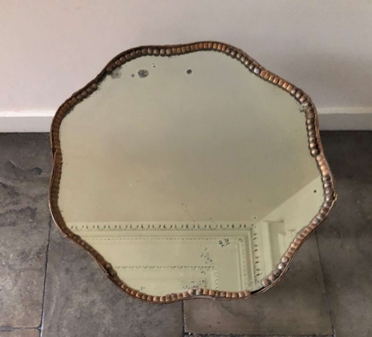 A Limed Oak Mirror Topped Table