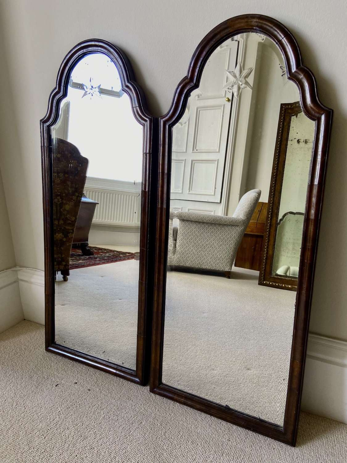 A pair of Queen Anne style mirrors
