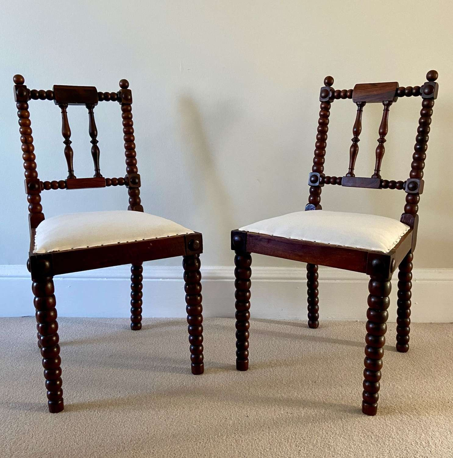 A Pair of Victorian Rosewood Bobbin Chairs