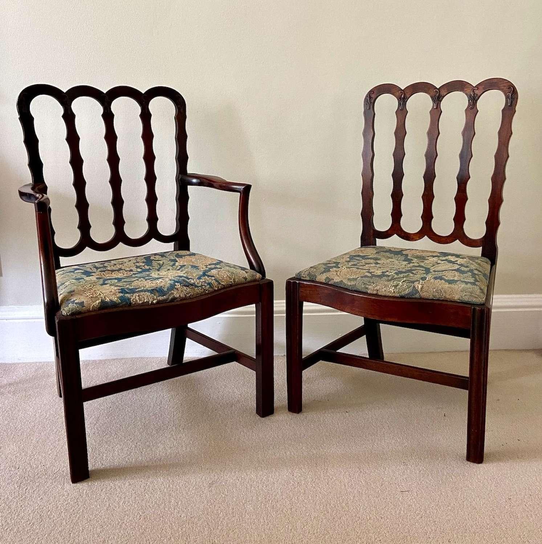 Two George III mahogany chairs