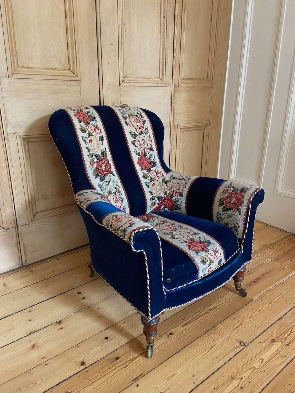 A Victorian Blue Velvet Armchair