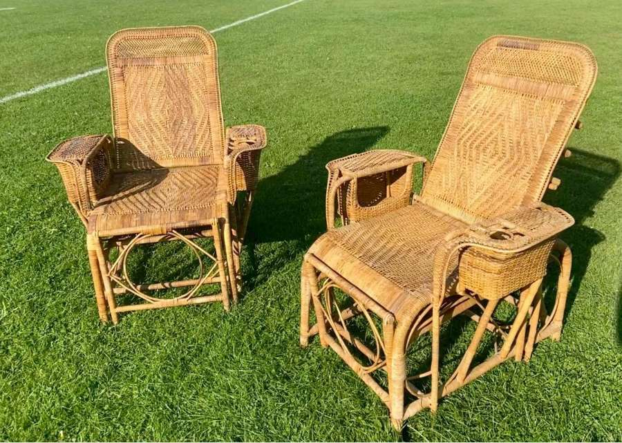 A pair of mid-century garden chairs